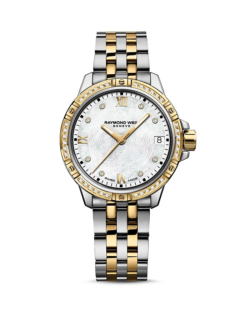 Raymond Weil: Stainless Steel And Yellow 30mm Tango Swiss  Quartz Watch  With Diamond Mother Of Pearl Dial And Diamond Bezel  44=0.19Tw