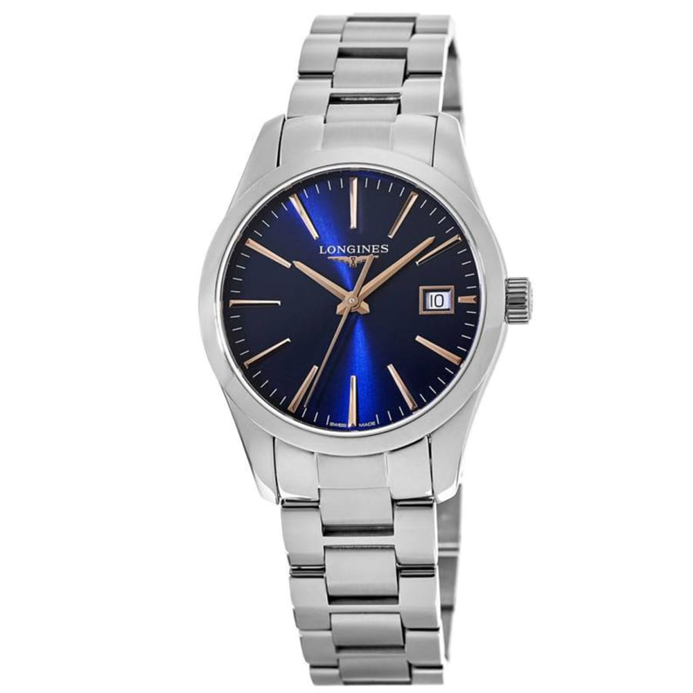 Longines:  Stainless Steel 34mm Conquest Classic  Quartz Watch (L23864926)