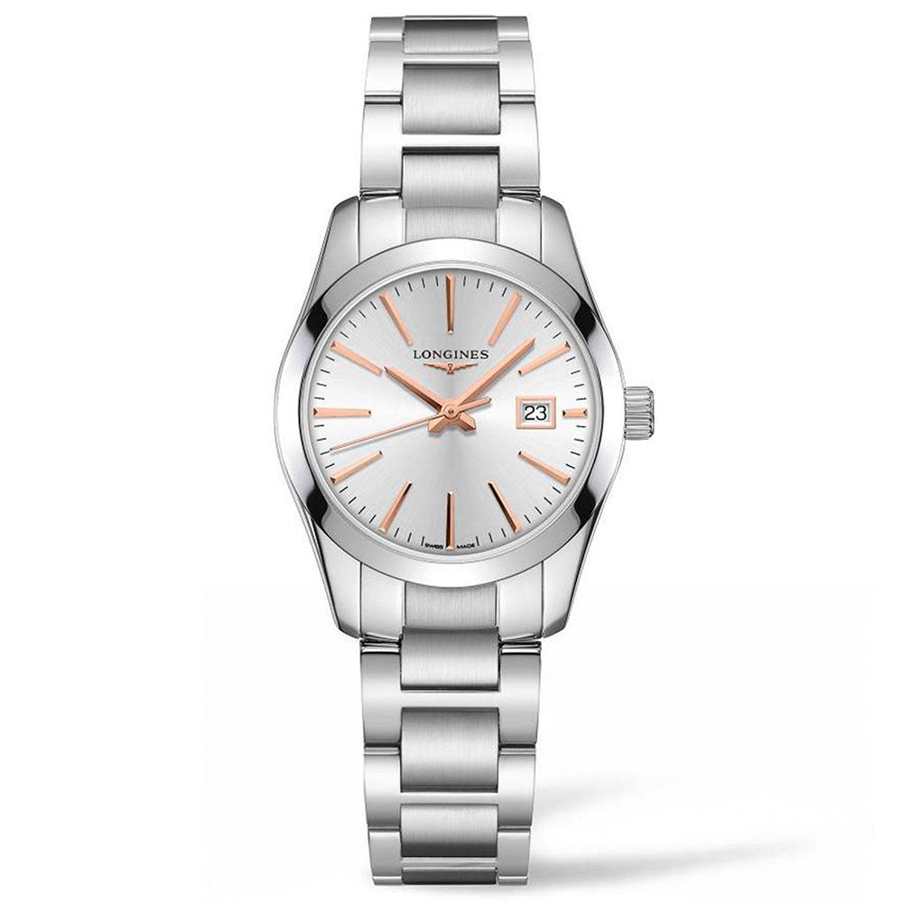 Longines: Stainless Steel 34mm Conquest Classic Quartz Watch(L23864726)