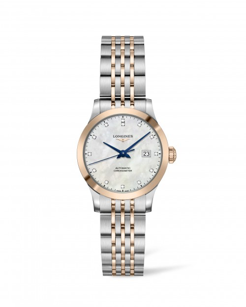Longines: Record Stainless Steel/Gold Cap 200 Automatic  30mm Watch Mother Of Pearl Diamond Dial