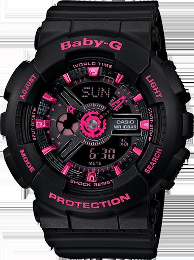 Casio Baby-G Black And Pink Ani-Digi Watch( BA111-1A)