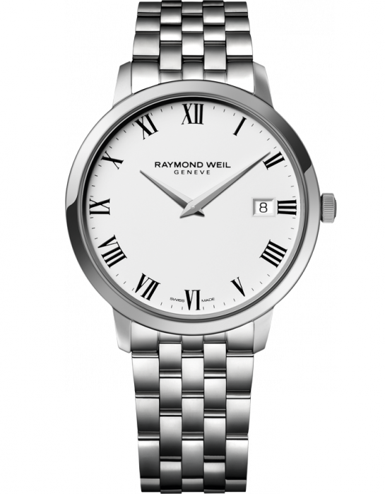 Raymond Weil: Stainless Steel Toccata Swiss Quartz Watch With White Dial /Roman Numerals