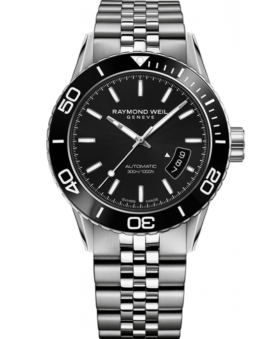 Raymond Weil: Stainless Steel 42.5 mm Freelancer Swiss Automatic Watch With Black Dial And Uni-directional Rotating Coin Edge Bezel