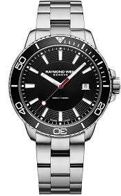 Raymond Weil: Stainless Steel 42mm Tango Swiss Diver  Quartz Watch With Black Dial And Black Unidirectional  Bezel