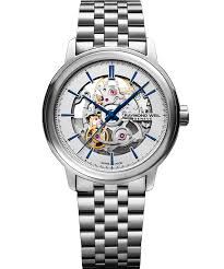 Raymond Weil: Stainless Steel 39mm Maestro Swiss Automatic Watch With Silver Skeleton Dial