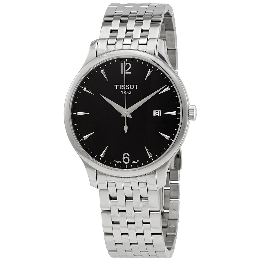 Tissot: Stainless Steel 42mm Tradition Quartz Watch With Black Dial