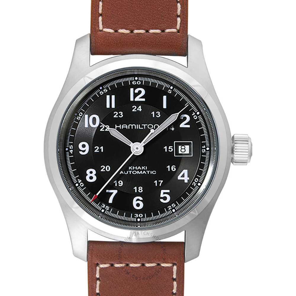 Hamilton: Stainless Steel 38mm Khaki Field Automatic Watch With  Brown Strap B