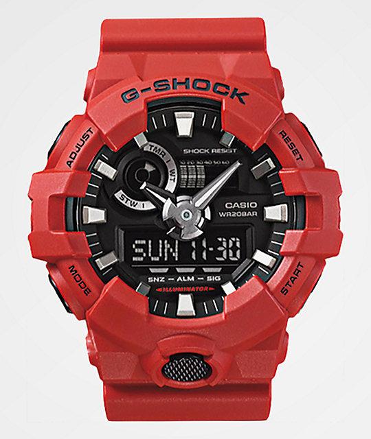 Casio: G Shock  Analog-Digital Red Resin Strap Watch