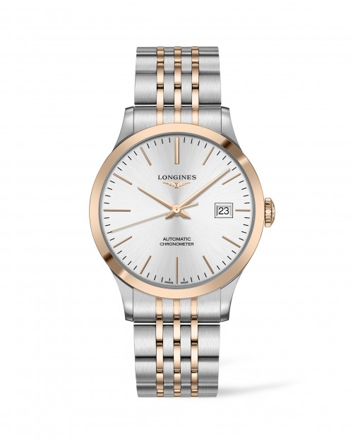 Longines Stainless Steel And 18 Karat Pink Gold Cap 40mm Record Automatic Chronometer COSC Cerified Watch(L28215727)