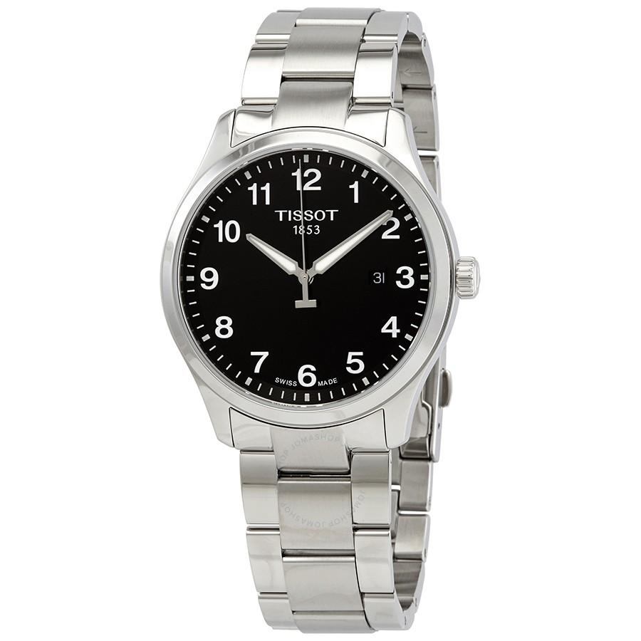 Tissot: Stainless Steel XL Classic Quartz Watch With  Black Arabic Dial