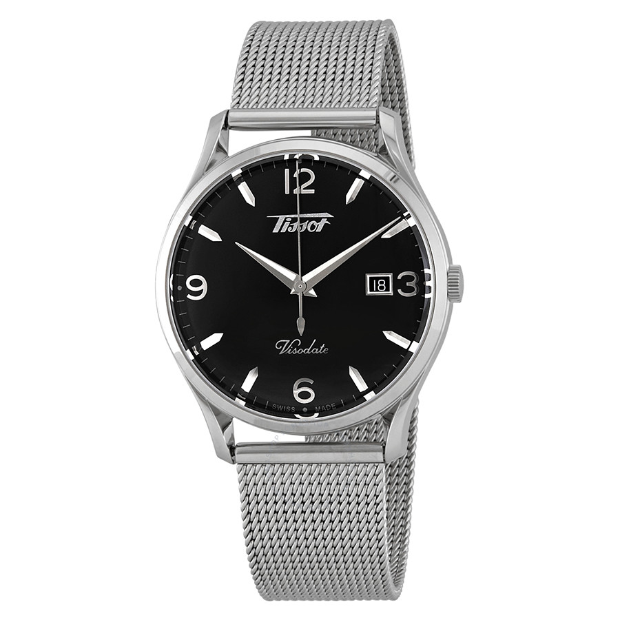Tissot: Stainless Steel 40mm Visodate Quartz Watch With Black Dial