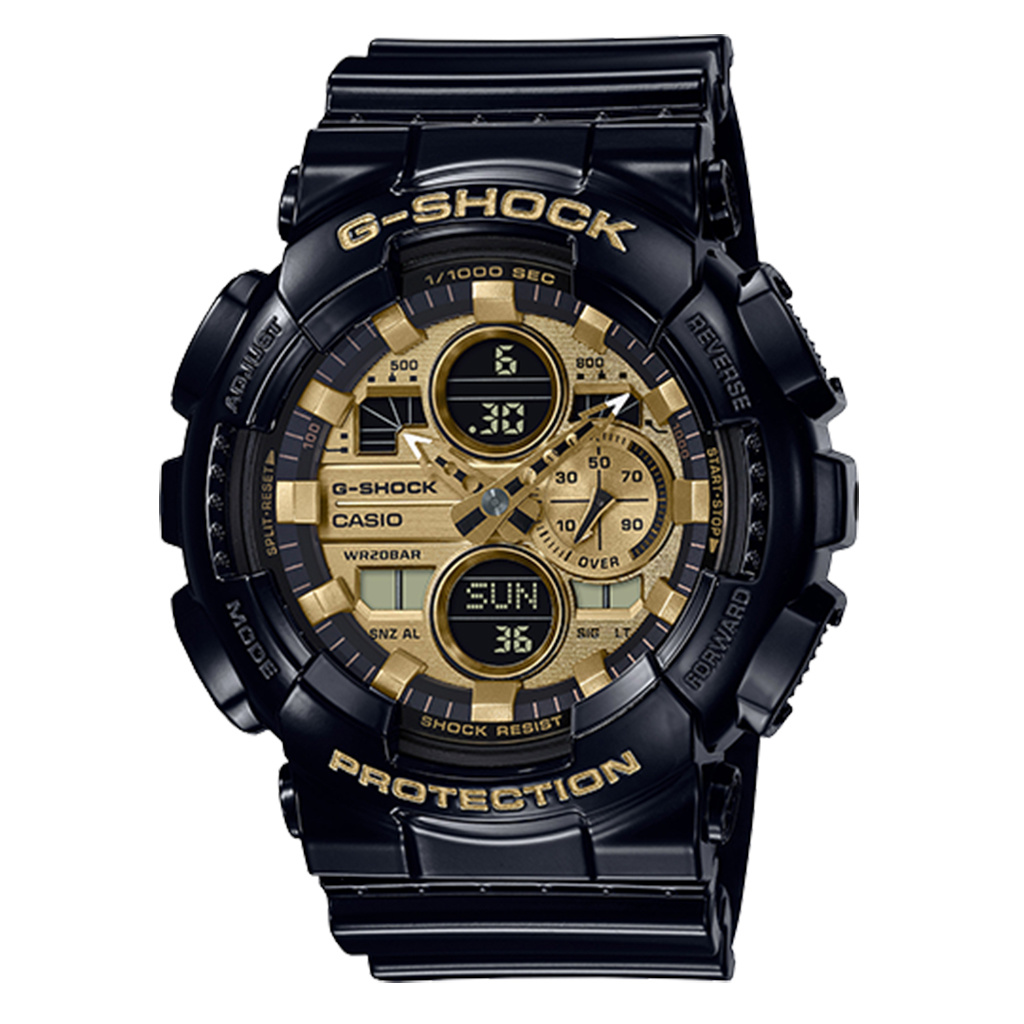 Casio: G Shock Digital Multi Function Watch Name Of Bracelet: Black Resin Clasp: Buckle Dial Color: Gold