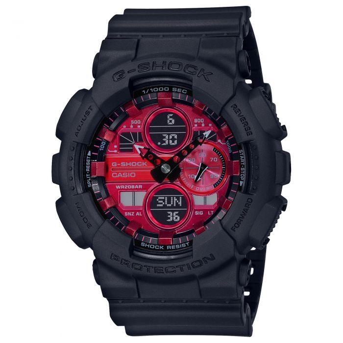 Casio: Digital Multi Function Watch Name: G Shock Name Of Bracelet: Black Resin Dial Color: Red