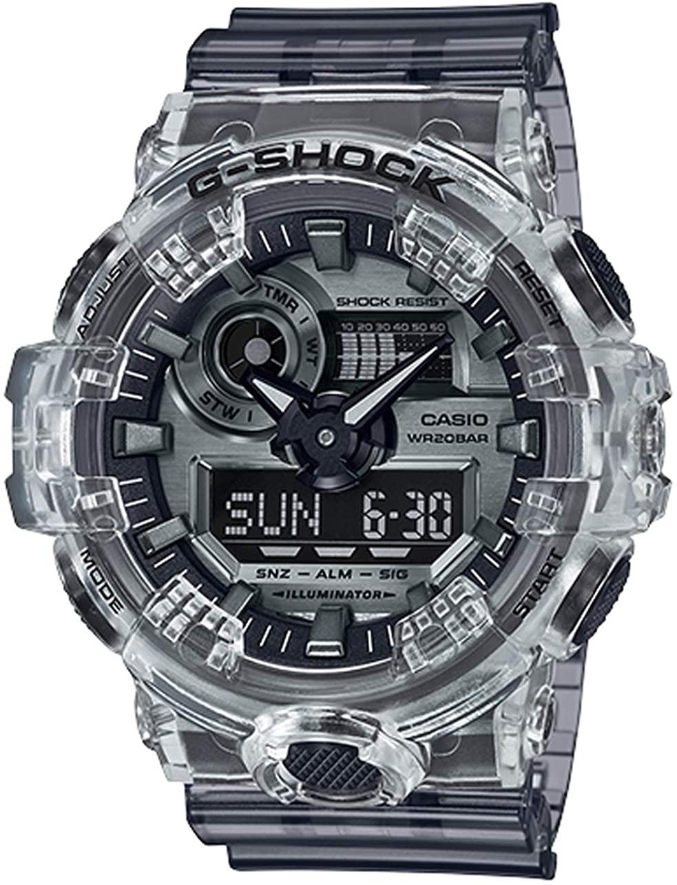 Casio: G Shock Digital Multi Function Watch  Name Of Bracelet: Ad Resin Skeleton Dial Color: Silver
