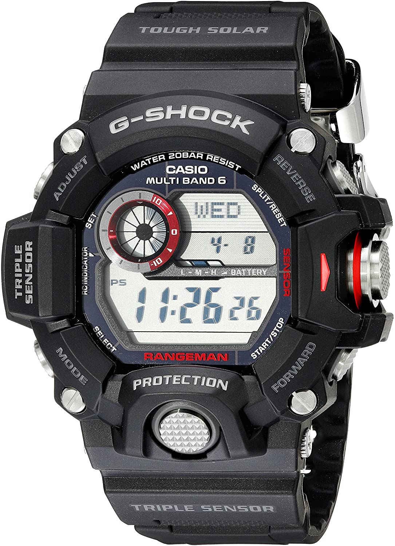 CASIO:  Digital Multi Function Watch Name: GSHOCK RANGE MAN Name of Bracelet: BLACK RUBBER Clasp: Tang Buckle Dial Color: BLACK