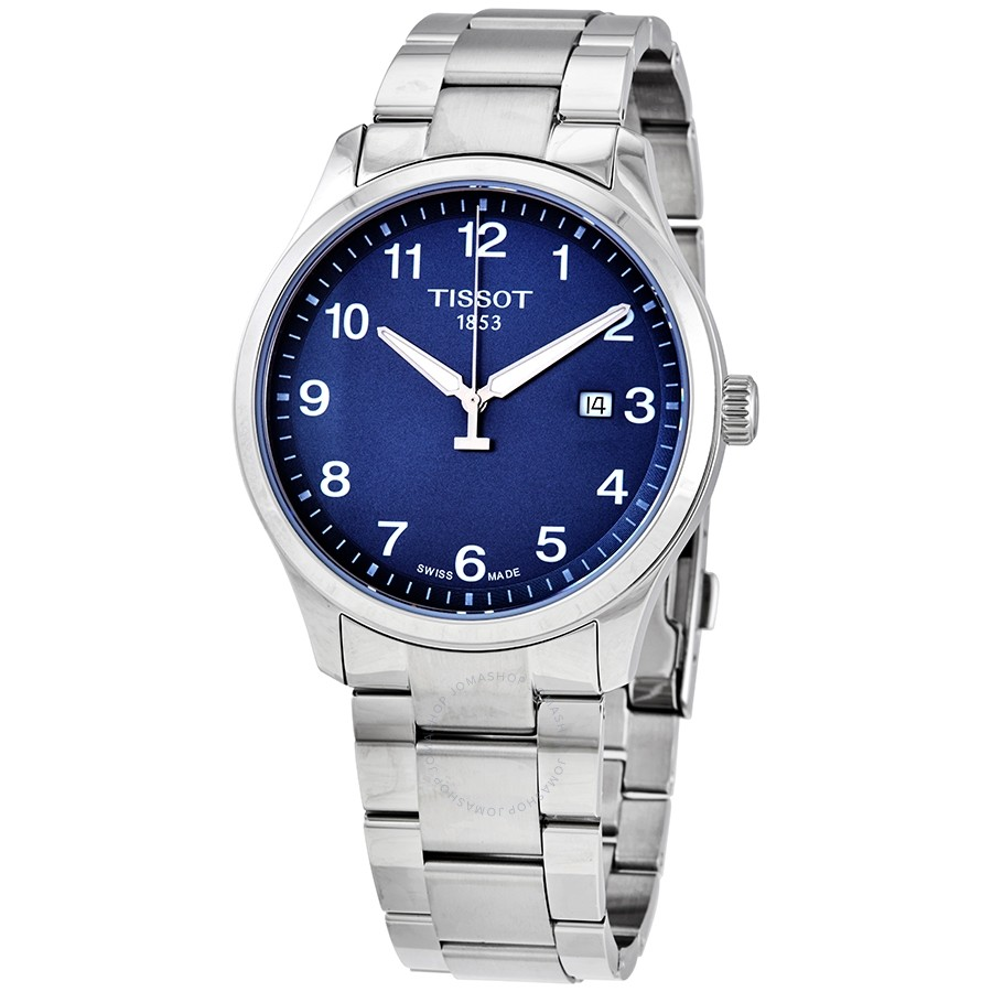 Tissot: Stainless Steel 42mm XL Classic Quartz Watch Withe Blue Arabic Dial