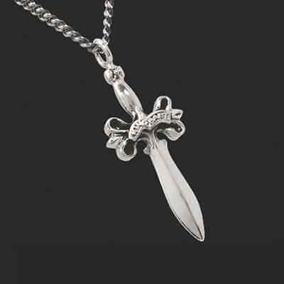 King Baby: Sterling Silver Small Dagger Pendant Chain Length: 24