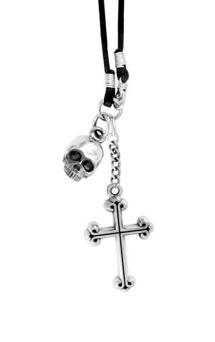King Baby: Sterling Silver Hamlet Skull and Cross Pendant on Braided Cord  Length: 22