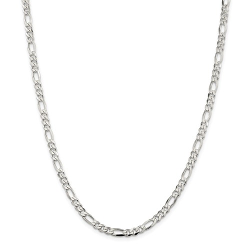 Sterling Silver 4.5mm Figaro Chain  24 Inch