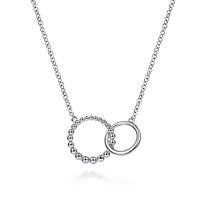 Gabriel & Co Sterling Silver Bujukan Beaded Double Circle Necklace Chain Length: 17.5