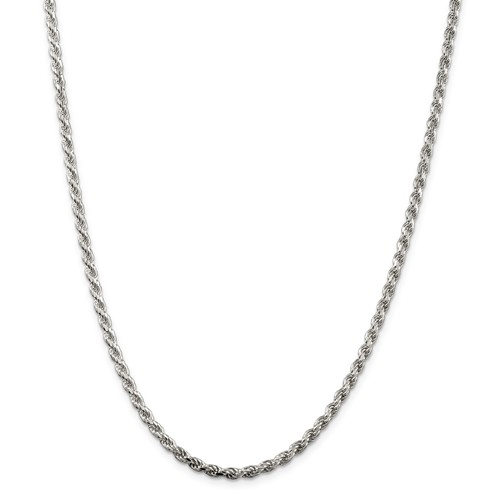 Sterling Silver 3.0 MM Diamond Cut Rope Chain 24 Inch