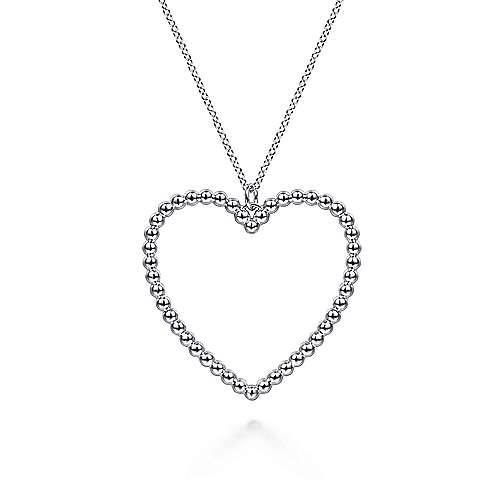 Gabriel & Co:Sterling Silver Beaded Heart Necklace 17