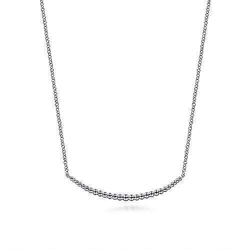 Gabriel & Co: Sterling Silver Bujukan Bead Bar Necklace 17.5