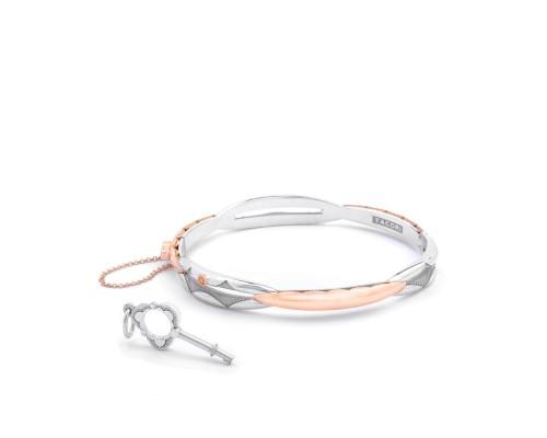 Tacori:  Sterling Silver & 18 Karat Rose Oval Promise Bracelet Length: Medium