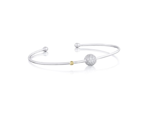 Tacori: Sterling Silver & 18 Karat Yellow Gold Single Pave Bead Bangle Bracelet With 0.22Tw Round Diamonds