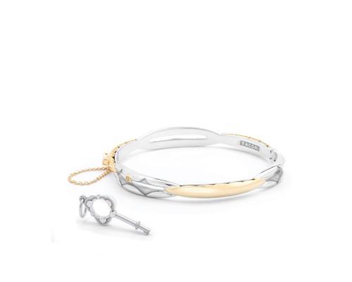 Tacori: Sterling Silver & 18 Karat Yellow Oval Promise Gold Bracelet Medium Size