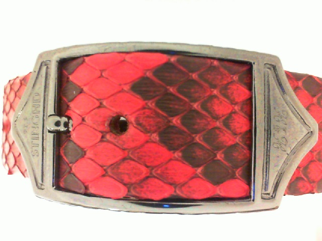 Sting HD:  Red Python Skin Luxe With  Sterling Silver & Black Gold Plated Bracelet Sz: Regular