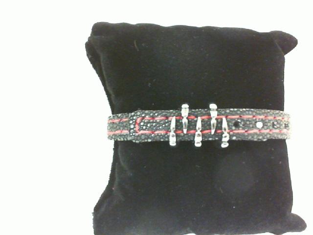 Sting HD: Sterling Silver Black Platinum Plate Bracelet Name: Blk Sting Red Stitching/Claw Length: Medium Diameter: 9mm