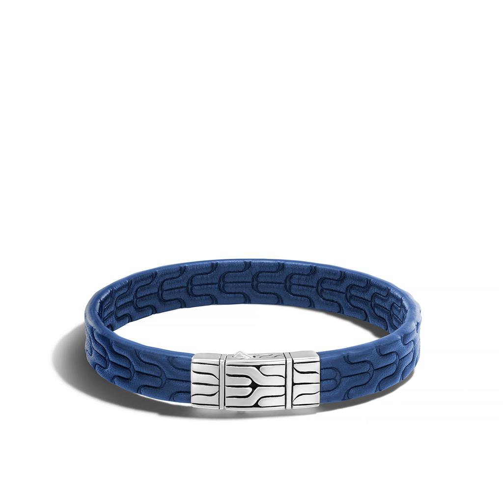 John Hardy: Sterling Silver Classic Chain 10mm Blue Embossed Leather With Pusher Clasp Length: Med