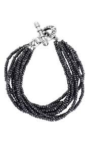 King Baby: Eight Strand Black Spinel Bracelet With Sterling Silver Toggle Clasp Length: 7.5