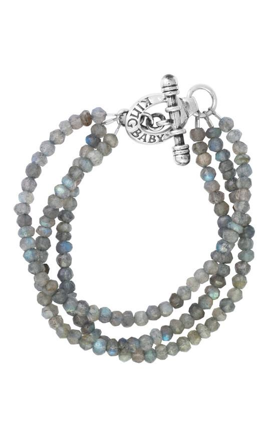 King Baby: Three Strand Labradorite Bead Bracelet With Mini Sterling Silver Toggle Clasp 7.5
