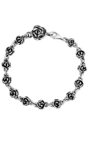 King Baby: Sterling Silver Rose Motif  Bracelet 7.5