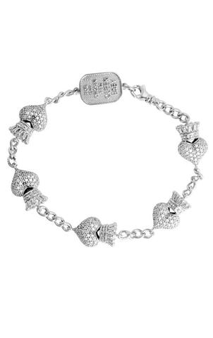 King Baby: Sterling Silver Bracelet  White Pave Cz Crowned Heart Motif 7.5