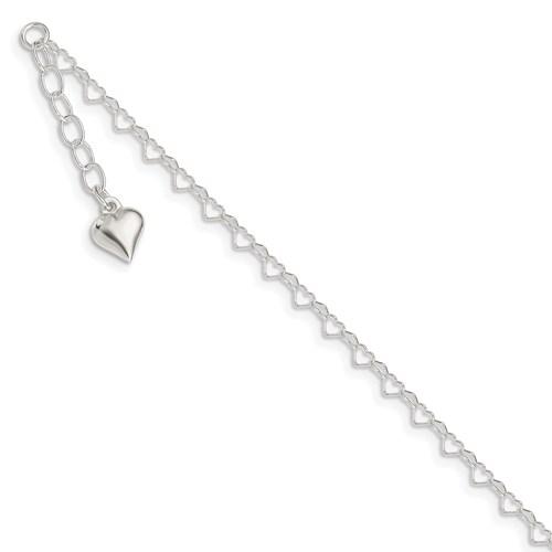 Sterling Silver Heart Ankle Bracelet Length: 9-10