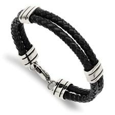Stainless Steel Bracelet Braided Black Length: 9