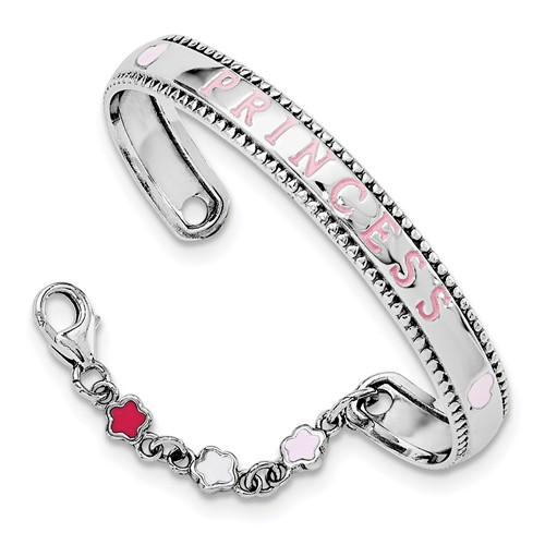 Sterling Silver Princess Baby Rhodium Plated Enamel Swarovski With Chain Bangle Bracelet