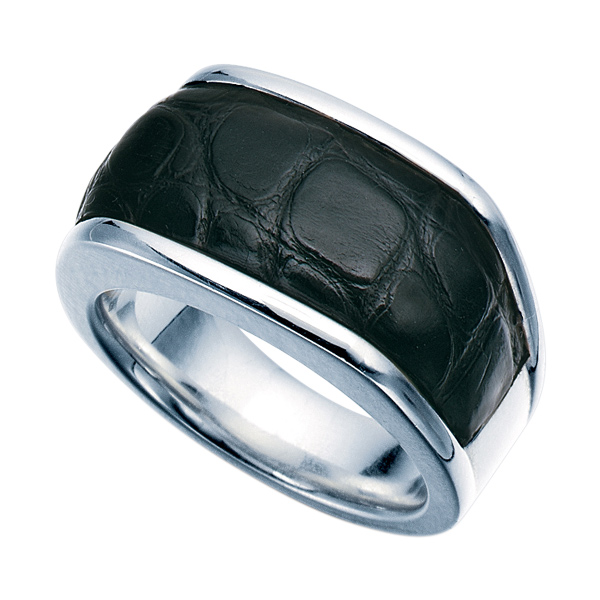 Sterling Silver Fashion Ring With Black Alligator Inlay