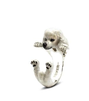 Dog Fever: Enamel & Sterling Silver Ring Size 6.5 Name: Poodle Hug