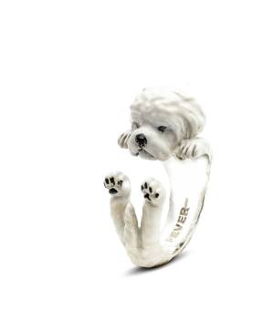 Dog Fever: Enamel & Sterling Silver Ring Size 6 Name: Maltese Hug