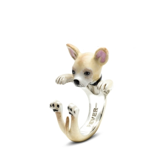 Dog Fever: Enamel & Sterling Silver Ring Size 6 Name: Chihuahua Hug
