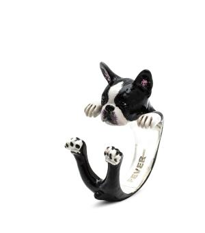 Dog Fever: Enamel & Sterling Silver Ring Name: Boston Terrier Hug