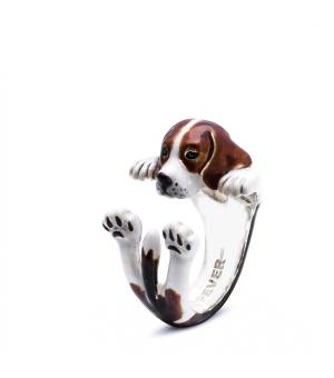 Dog Fever: Enamel & Sterling Silver Ring Size 6.5 Name: Beagle