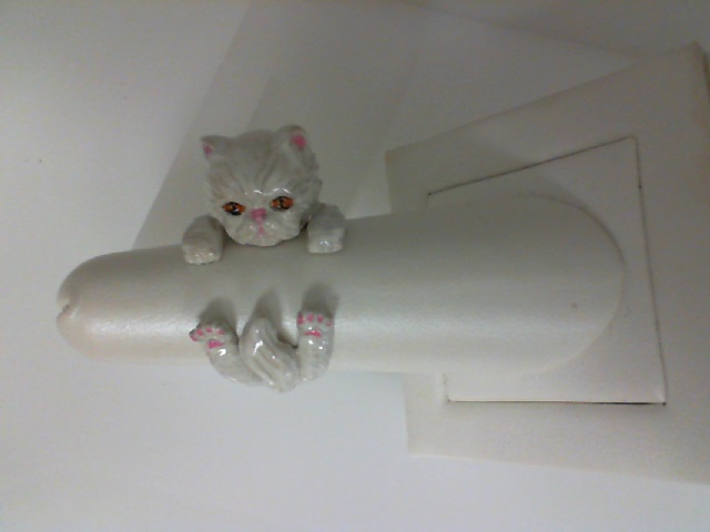 Cat Fever: Sterling Silver & Enamel  Persian White Cat Ring Size 7