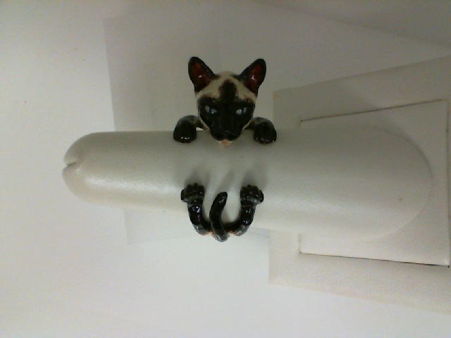 Cat Fever: Sterling Silver & Enamel Siamese Cat Ring Size 7.5