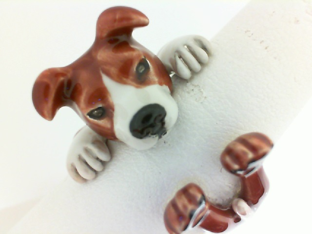 Dog Fever: Sterling Silver And Enamel Ring Size 7.5 Name: American Staffordshire Hug