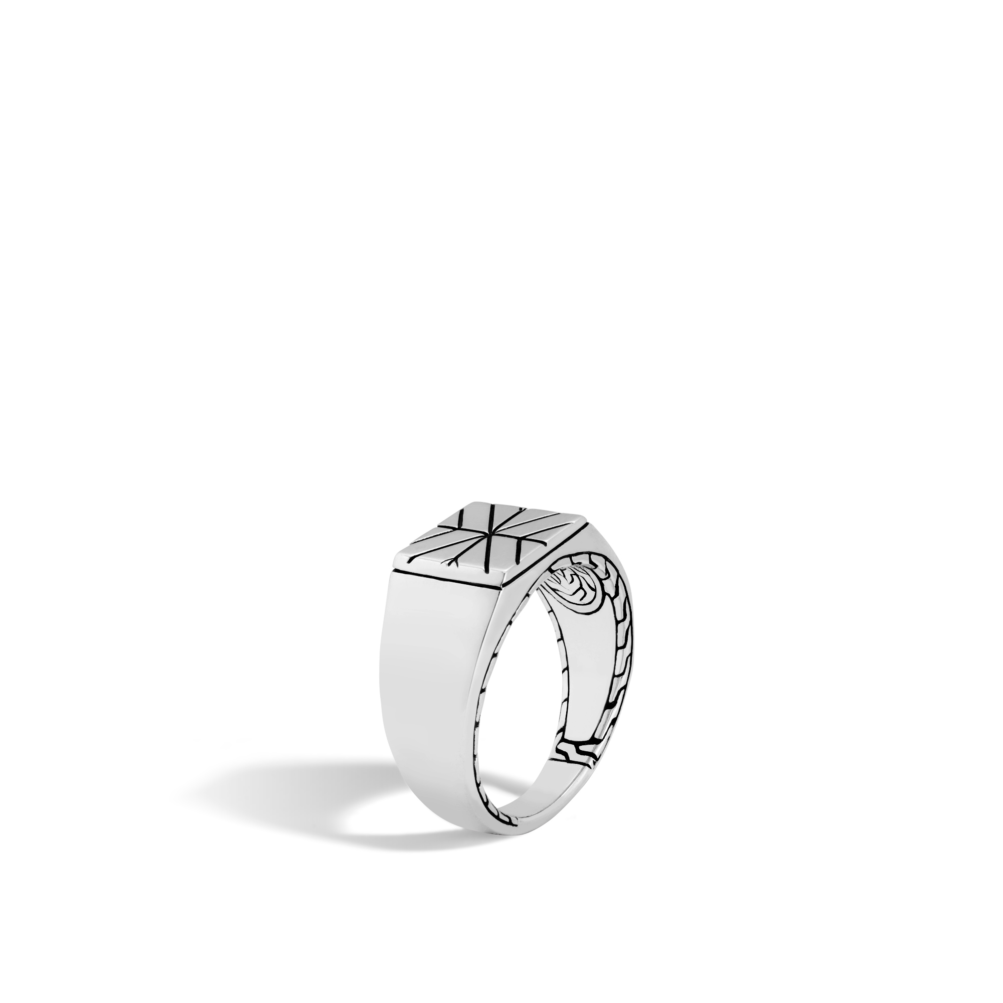 John Hardy: Sterling Silver  Modern Chain Signet  Ring Size: 10 Ring Measures 4mm To 11mm Wide